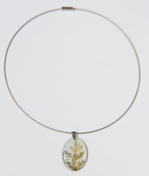 Gargantilla colgante ovalado hojas
